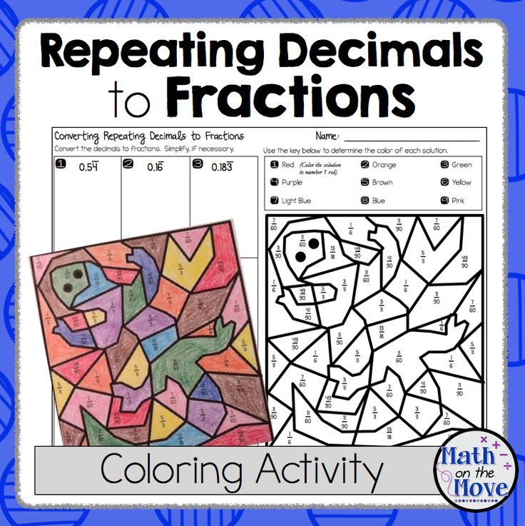 Changing Repeating Decimals Into Fractions Coloring