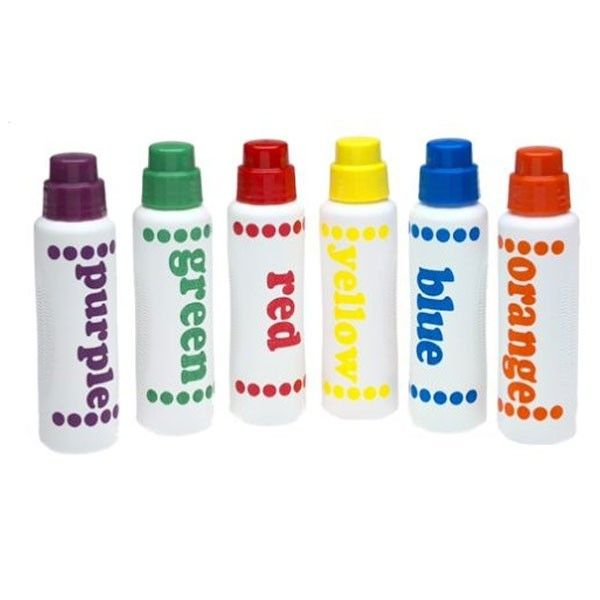 Encourage their love of art with the Do-A-Dot Art Washable Rainbow Markers, featuring six bright paint colors in sponge-tip bottles, which serve as paint applicators. Easy to use, they require NO cups and NO brushes. www.rightstart.com $15.99
