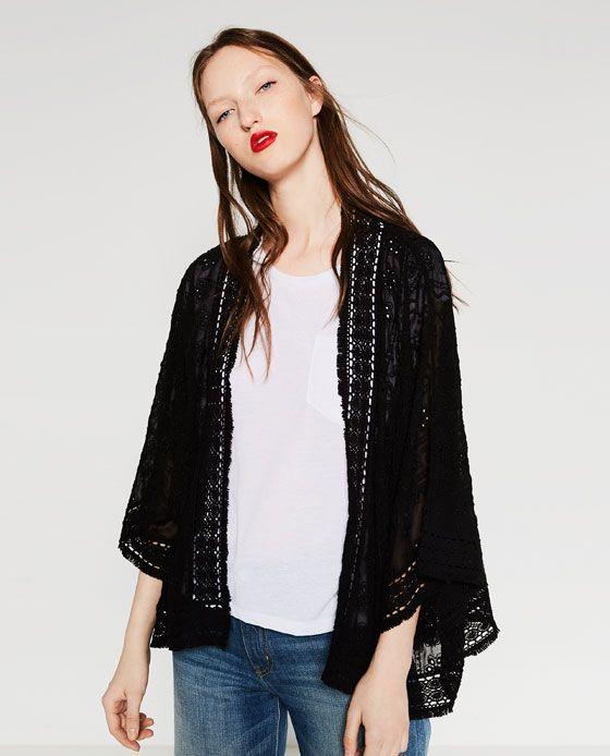 Black Lace Kimono Jacket by Zara | $35.99