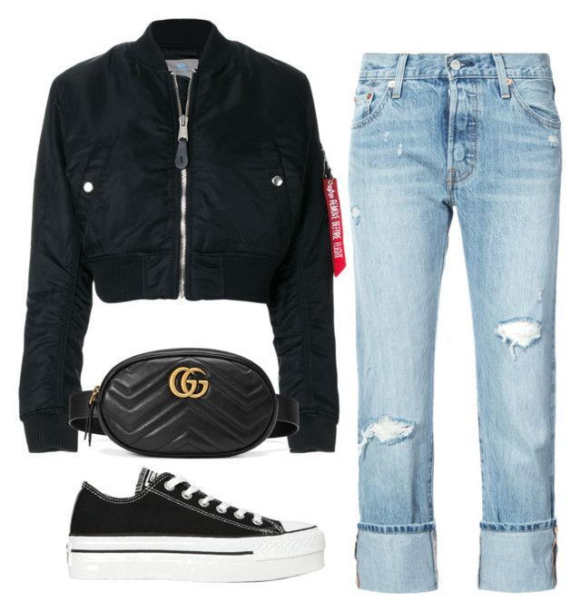 #3 by josecamerano on Polyvore featuring polyvore, fashion, style, Alpha Industries, Levi's, Converse, Gucci and clothing