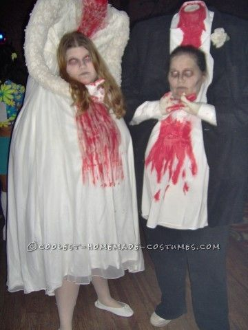 Thrift Store Headless Bride and Groom Couple Costume