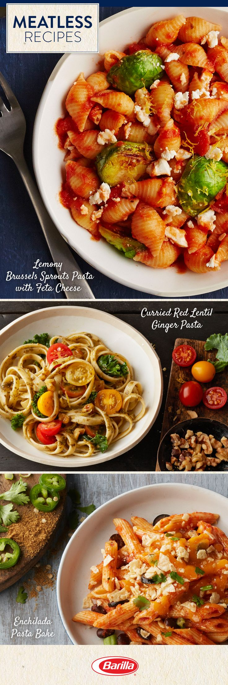 Vegetarians and meat-eaters alike will love these meatless recipes! Save this pin for delicious pasta recipes, chock full of vegetables like Brussels sprouts, tomatoes and jalapenos.