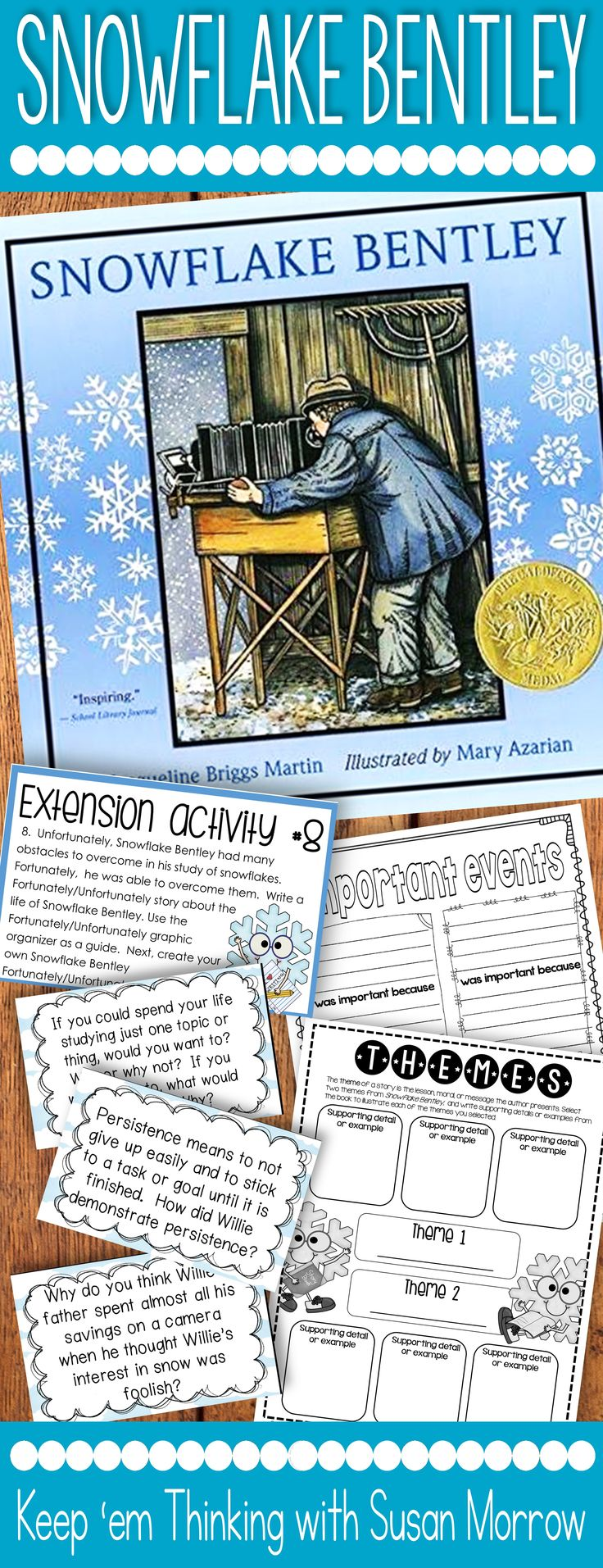 Snowflake Bentley Literature Unit:   my favorite winter picture book and read aloud for second, third, fourth, fifth grade & homeschool students is filled with rich literacy activities & lessons to foster critical thinking skills. Respond to literature by identifying character traits & story theme, summarizing, vocabulary review. Deep comprehension questions & extension activities for high achievers & early finishers. {2nd, 3rd, 4th, 5th, balanced literacy, book study}#snowflakebentley Susan Morrow