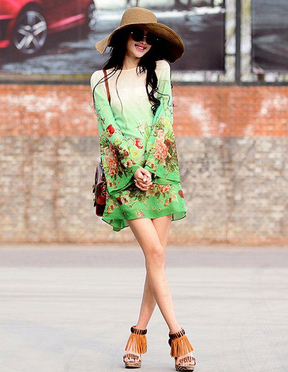 Custommade Bohemian Green Floral Bridesmaid Maxi by ChineseHut, $98.00
