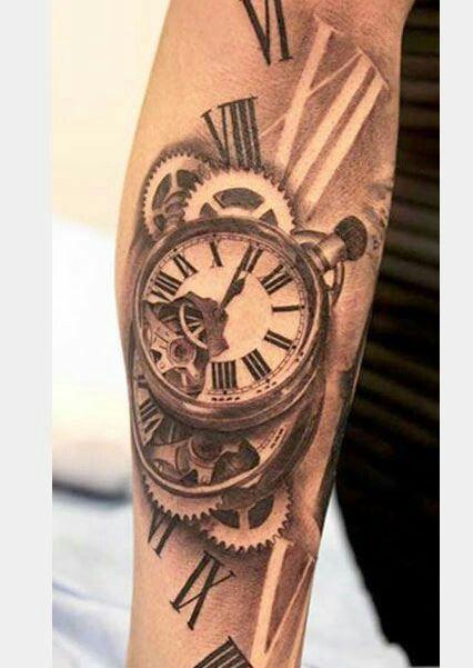 Vintage clock tattoo
