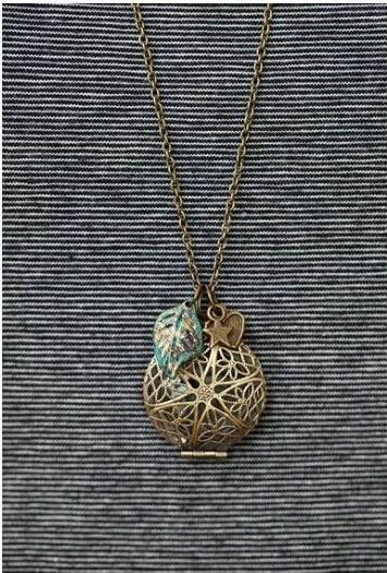 antique bronze diffuser necklace