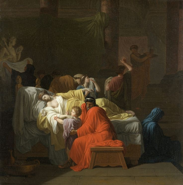 Pierre Peyron, The Death of Alcestis, 1794, oil on canvas, overall: 97.2 x 95.7 cm (38 1/4 x 37 11/16 in.), framed: 118.75 x 117.79 cm (46 3/4 x 46 3/8 in.). North Carolina Museum of Art, Raleigh, Purchased with funds from gifts by Mr. and Mrs. Jack L. Linsky, Mrs. George Khuner, Cornelius Vanderbilt Whitney, anonymous gift, Lady Marcia Cunliffe-Owen, William Walker Hines, and Mrs. Alfred Elliott Dieterich.