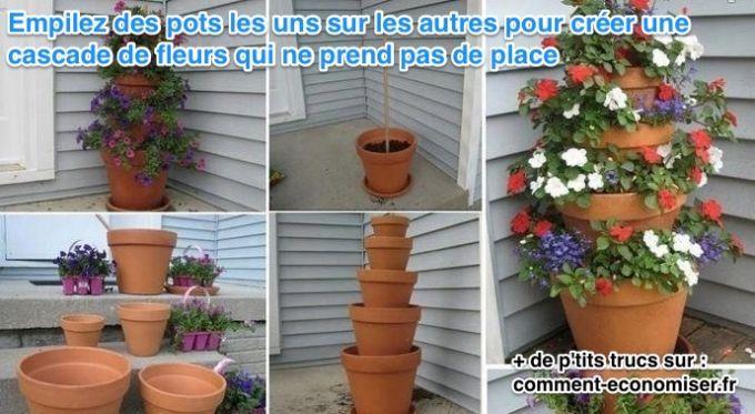 Voici l'astuce ingénieuse pour avoir une cascade de fleurs qui ne prend pas plus de place qu'un seul pot de fleurs.  Découvrez l'astuce ici : http://www.comment-economiser.fr/creer-cascade-fleurs-sans-prendre-place.html?utm_content=buffera842b&utm_medium=social&utm_source=pinterest.com&utm_campaign=buffer