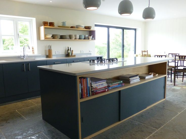 Peter Henderson Bespoke Kitchen Island With Oak Cabinet And Sliding Doors