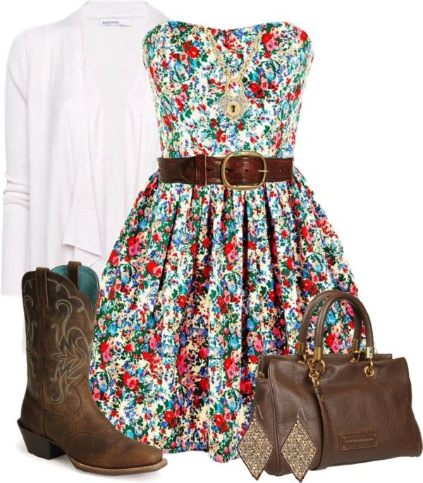 I Love This Country Outfit Flowery Dress Cowgirl Boots