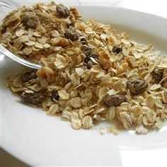 Muesli Recipe - Allrecipes.com 4 ½ c. rolled oats; ½ c. toasted wheat germ; ½ c. wheat bran; ½ c. oat bran; 1 c. raisins; ½ c. chopped walnuts; ¼ c. packed brown sugar; ¼ c. raw sunflower seeds. Mix oats, wheat germ, wheat bran, oat bran, dried fruit, nuts, sugar, + seeds. Mix well. Store in an airtight container up to 2 months at room temp.