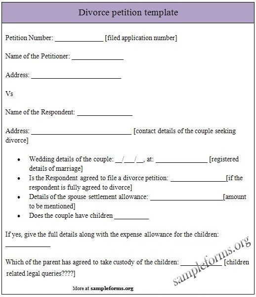 Printable Divorce Papers: Divorce Petition Template,separation Agreement