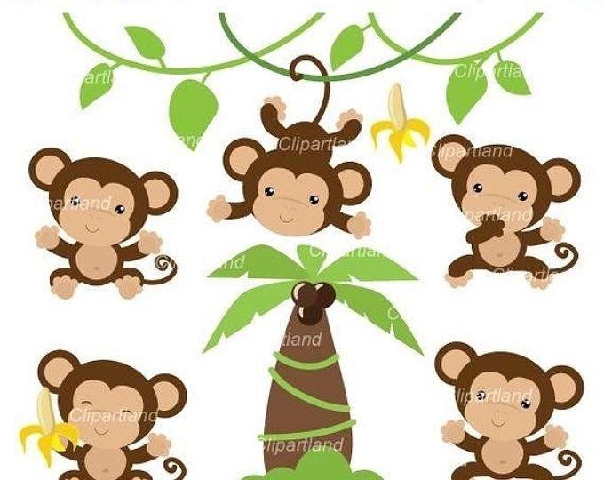 Cute Little Monkey Clipart Set Etsy Monkey Illustration Cute Monkey Monkey Art