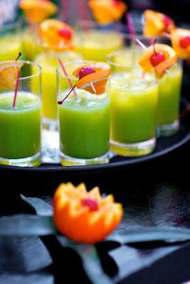 Green Flash Cocktails: 1 oz. vodka, 1/2 oz. Peach Schnapps, 1/2 oz. Blue Curacao, 3 oz. orange juice, 3 oz. sprite, and ice.