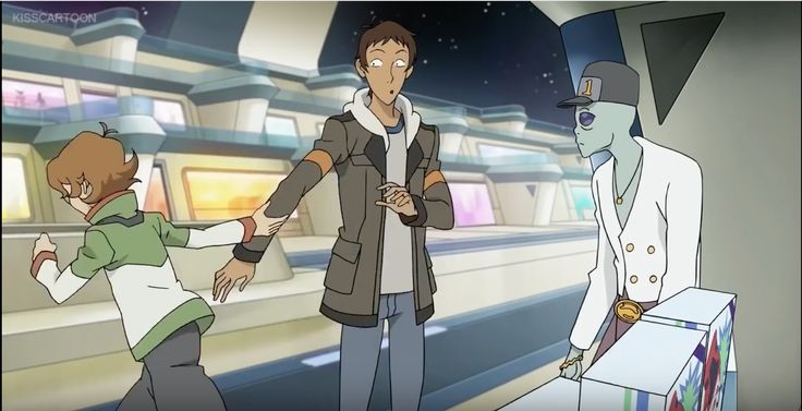 Pidge pulling Lance to find some money to buy video games from Voltron Legendary Defender