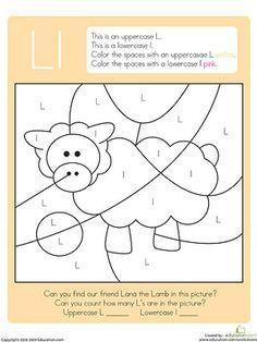 Hidden Color By Letter Printables: Find the Lamb (via Parents.com)