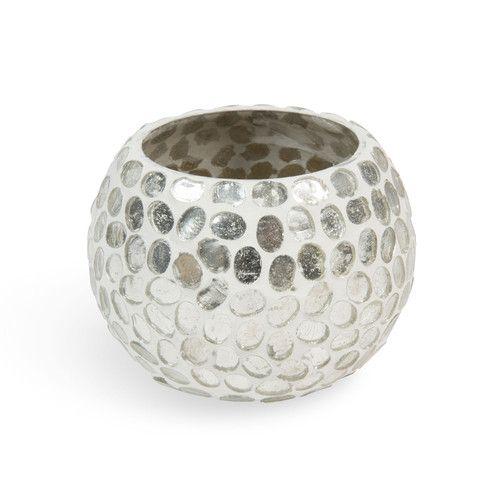 Lumignon en verre blanc/argent H 7 cm MOSAÏQUE RONDE