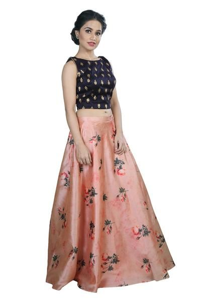 b02da1a8671e8 Indian Crop top and Skirt Lehenga