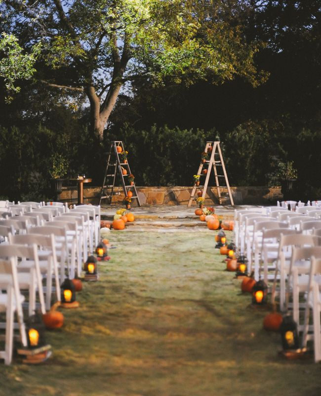 fallhalloween aisle marker for a rustic and romantic vibe at your ceremony - Halloween Wedding Decor