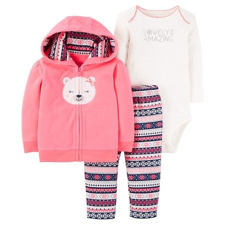 Baby Girls' 3-Piece Fleece Cardigan Set Pink Hooded Bear - Just One You™Made by Carter's®