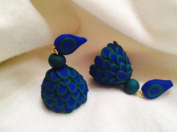 Handmade polymer clay jhumka/ jhumki earrings by Vibgyour on Etsy