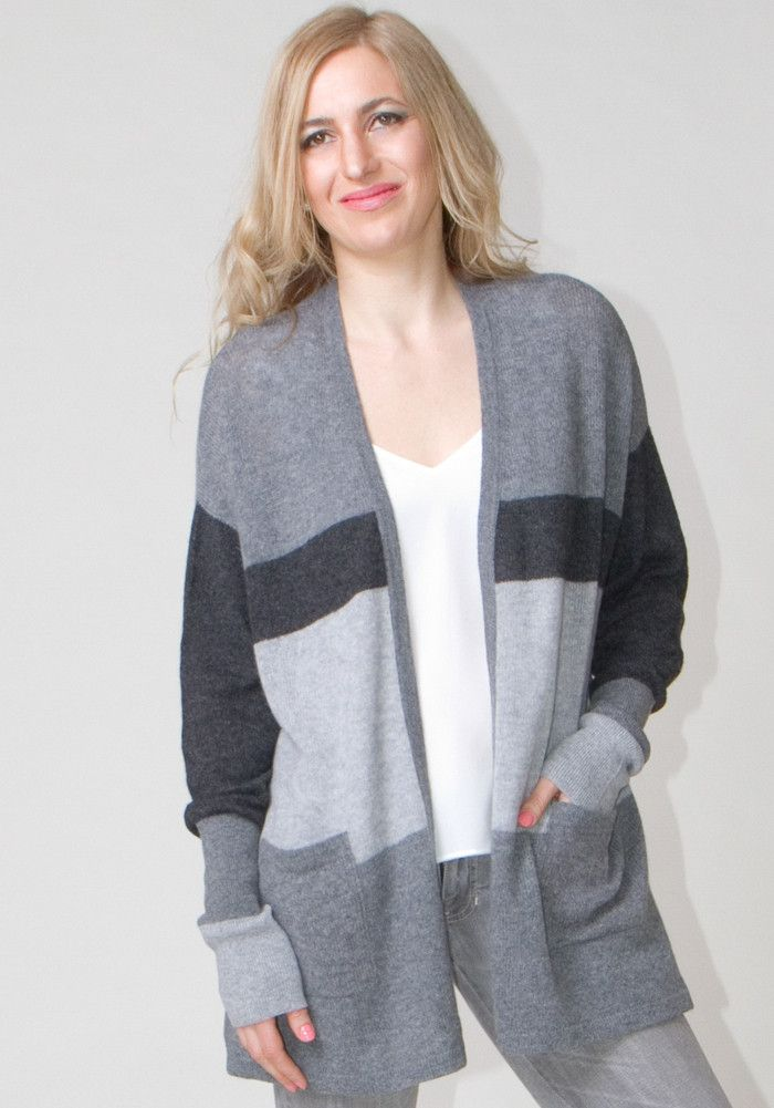 Light Weight Open Cardigan with Stripes #cashmere #boutique #shopping #womenswear #style #fashion #ss2016 #spring #summer #sweater #stripes #grey #cardigan