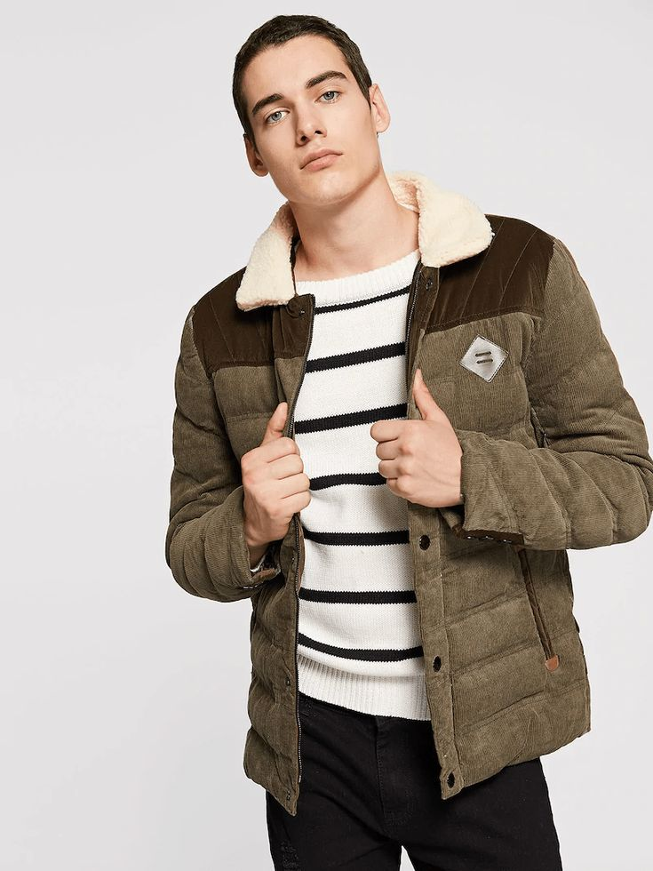 Men Button Detail Corduroy Puffer Coat With Borg Collar ...