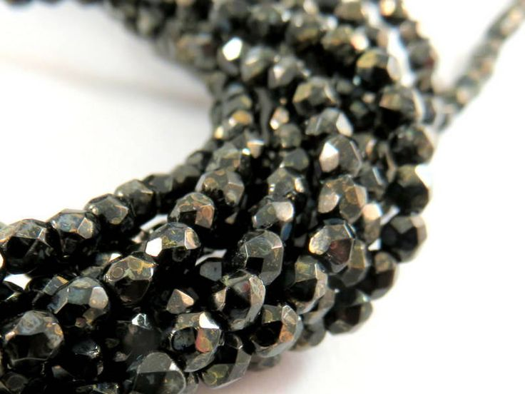 50 Czech Jet Bronze Picasso 3mm Faceted Opaque Round Black Beads - 50 pc - G6067-BP50 by allearringsandsuppli on Etsy