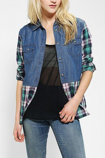 Denim shirt meets man's plaid shirt. Cute.