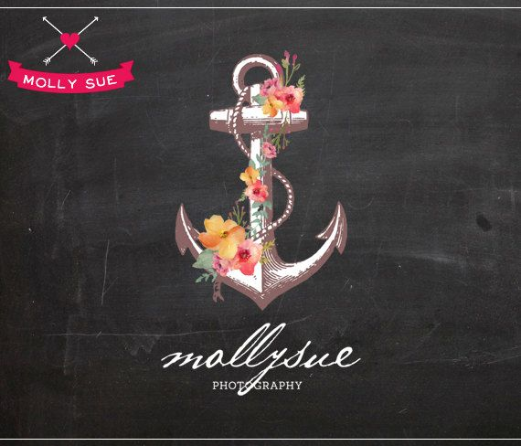 Custom Business Premade Logo Design, Anchor Flowers Floral Vine Tattoo Vintage Nautical via Etsy