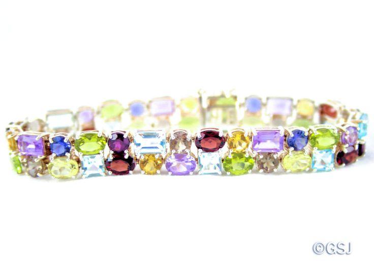 "Sterling Silver Multi-Gemstone Two Row Tennis Bracelet, 31 ct tw, 7-1/4"" QVC #QVC #Tennis #Multi-Gemstone"