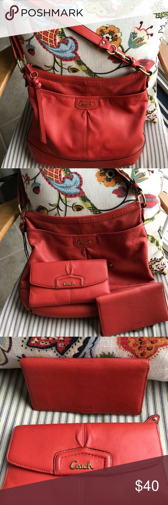 Coach hobo bag in persimmon and matching wallet Used and shows signs of wear but if you're looking for a beautiful Coach bag and wallet and don't care that they're broken in and show some wear, this is priced to go! Coach Bags Hobos