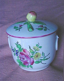 Old French Luneville K & G Faience Pot-au-Creme  A fine old French faience pot-au-creme with fitted cover that has an apricot? finial. Can be used for jam jar, loose tea, whatever. Pretty floral pattern with Strasbourg rose on one side and tulip on the other. Old crown mark of K Luneville from the 1920s or earlier. Pink trim all around... so very continental in feel. The rich pink is achieved with the use of gold doped into the enamel color fired at high temperature.