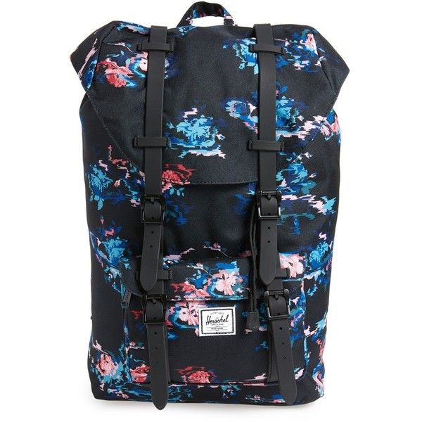 Herschel Supply Co. Little America - Mid Volume Backpack ($100) ❤ liked on Polyvore featuring bags, backpacks, floral blur, mesh bag, laptop backpack, mesh backpack, padded laptop bag and laptop bags