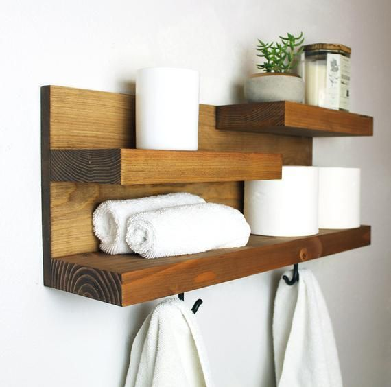 Bathroom Storage Shelf Organizer With Bronze Towel Hooks