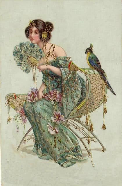 ※∮※ feather fan, bird, tassels, violet fleurs, golden beads ※∮※: Vintage Postcards, Victorian Art, Art Nouveau, Vintage Prints, Parrots, Fans, Old Postcards, Artnouveau, Art Deco