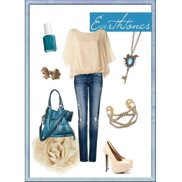 Earthtones, created by parklanejewelry.polyvore.com. Featuring Beauty necklace, Vintage ring, & A La Mode bracelet