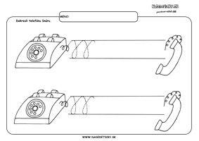 Telefón - grafomotorika - pracovné listy pre deti