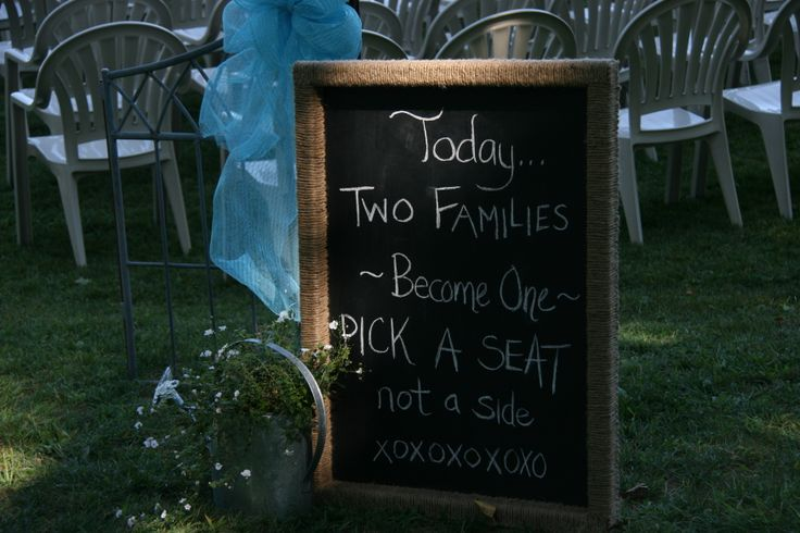 """Today two families becomes one, pick a seat, not a side."""