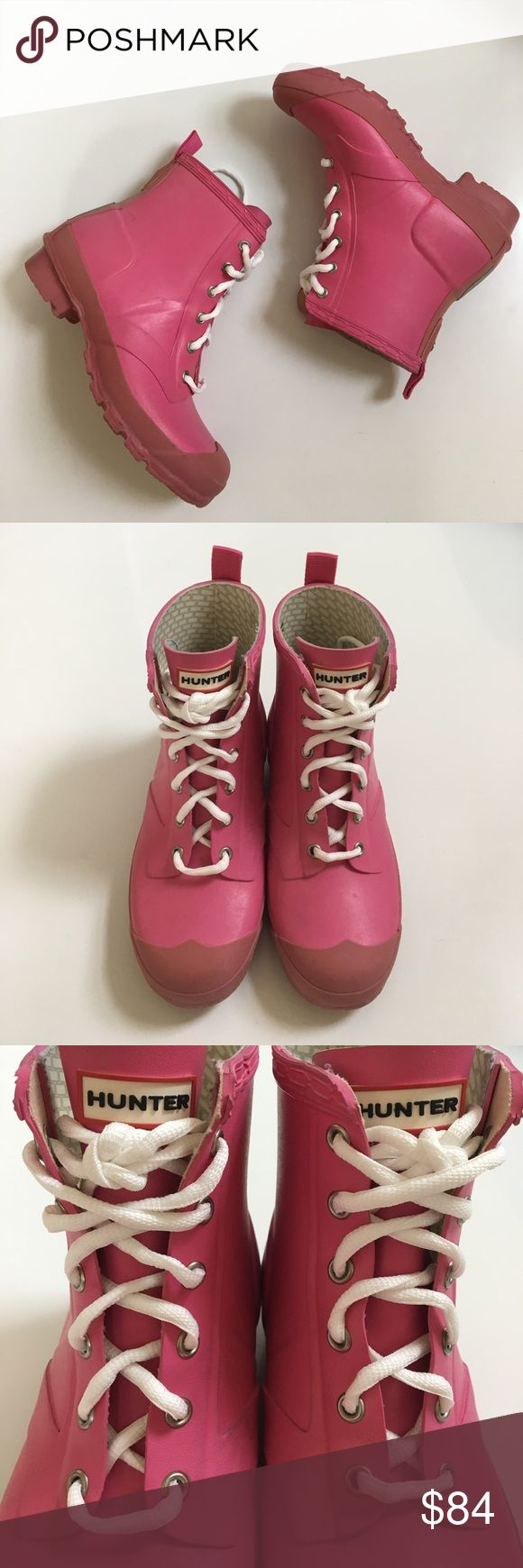 """{ Hunter } lace up short boots Hunter lace up short boots. Pink with white laces (these laces were not original laces, approx 1"""" heel height 6"""" height of boot (including heel), previously worn a few times has some minor wear to it including a few blackish marks, scuffs, little dirty but may be able to clean off with a good clean. These are so adorable and comfy! This is a youth 3M/4F as listed but you can size up to 2 sizes to conversion for women's sizing per Hunter guides. Hunter Boots…"""