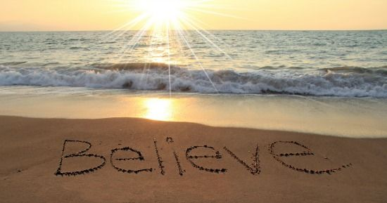 Believe Beach Sand Writing…
