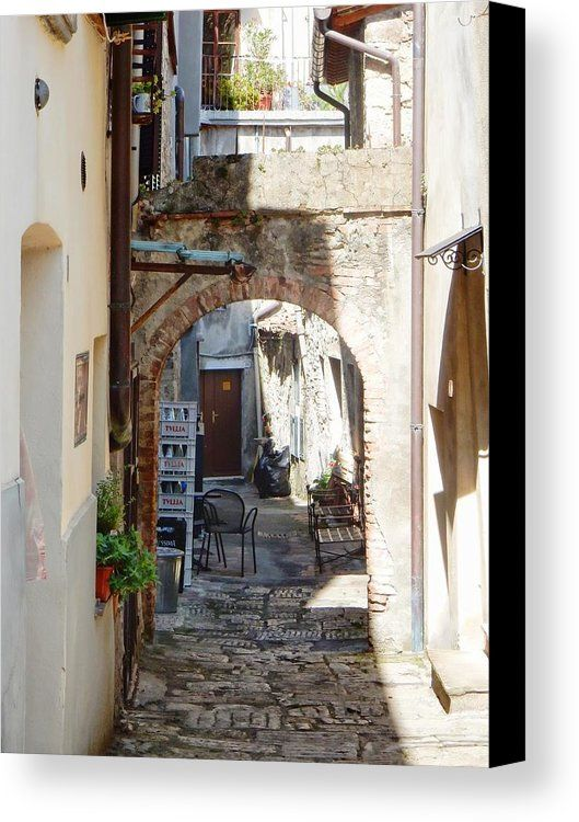Glancing Down An Alleyway Canvas Print featuring the photograph Glancing Down An Alleyway Cetona by Dorothy Berry-Lound #cetona #italy #Tuscany