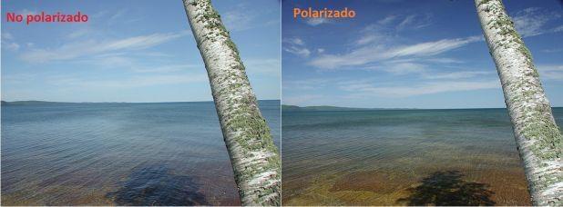 ¿Sabes la diferencia visual de los lentes polarizados a los lentes de sol tradicionales? Aumentan el contraste y eliminan el reflejo del sol en las superficies planas. La foto muestra la evidencia de ello. ¿Ves la diferencia?