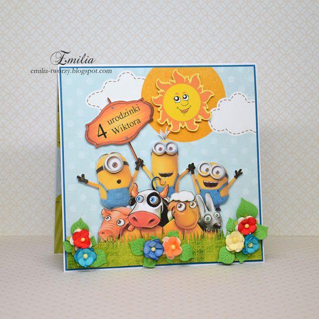 Emilia tworzy: Kartka urodzinowa z Minionkami/Birthday card Minions