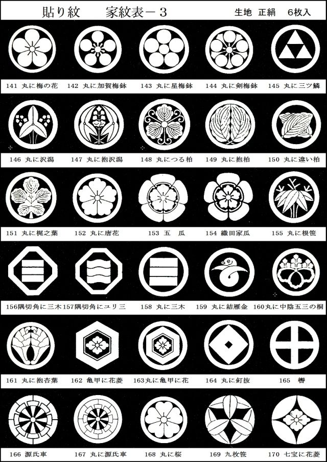 table of japanese family crests  moncrests