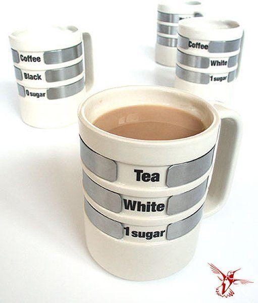 Уникальные чашки, на которых можно выставить личные предпочтения по кол-ву сахара, молока, выбора напитка (чай или кофе). Оригинальный вариант для кафе.