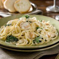 Garlicky chicken and broccoli linguine Alfredo.