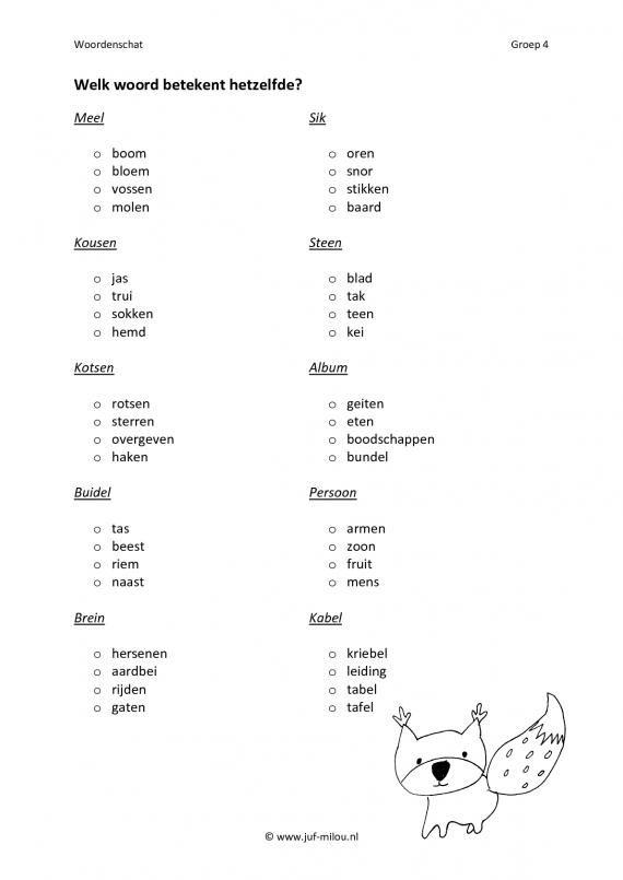 Dit werkblad en nog veel meer in de categorie synoniemen kun je downloaden op de website van Juf Milou.