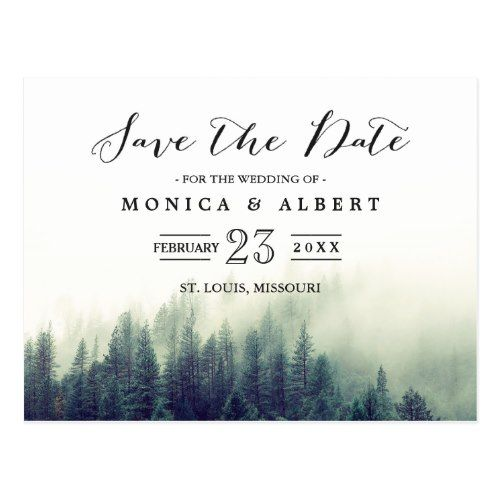 Elegant Chic Pine Trees Forest Save the Date Postcard Modern Save the Date Wedding Postcards