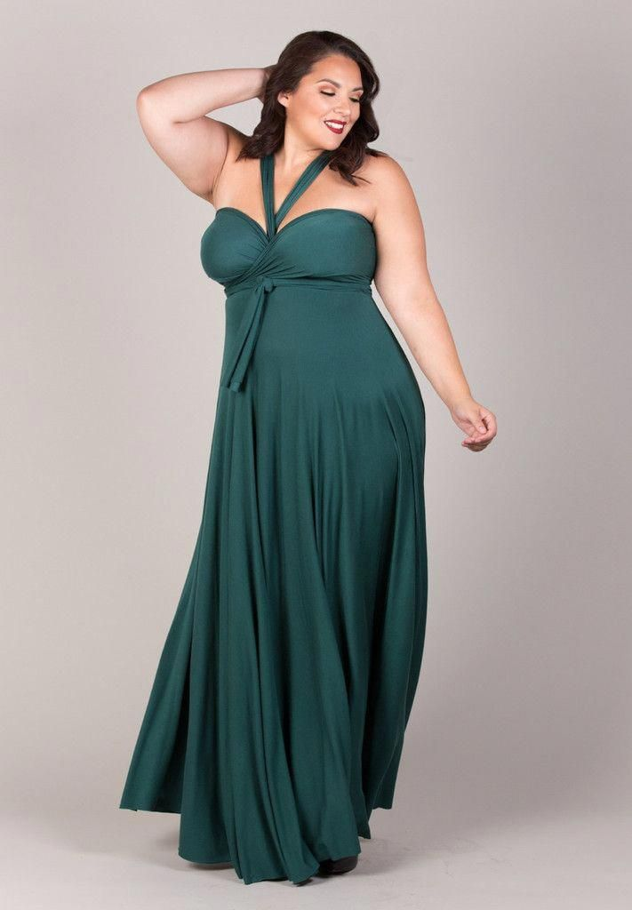 81187dc8dff Plus Size Eternity Maxi Convertible Dress - Forest Green at www. curvaliciousclothes.com